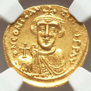 641-668 Byzantine Empire Ngc Ms 4/4 Constans Ii Gold Solidus - Before The Beard