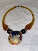 Blown Curved Arm Art Glass Tubes And Pendant Necklace Hand Made