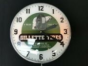 Gillette Tires Lighted Pam Clock, Vintage Advertising Sign, Bubble Glass,
