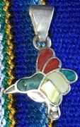 Peruvian Silver Stamped 950 Hummingbird Necklace Charm With Stones Free Shipping