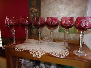 Imperlux Vintage Cranberry Pink Cut To Clear Crystal Wine Hocks Bohemian Germany