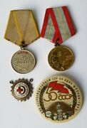 Soviet Russian Medal For Combat Service. Silver. Usa Only Badge Pin Star Lot