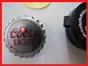 Coors Light Beer Button Red Led Light Up Pin On Bottle Cap, W/ Case Battery New