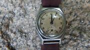 1940and039s Zenith Silver Metal Case Watch W Sweeping Seconds Wear To Case Intl Sale