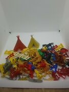 Vintage 1970's - Huge 88 Piece Lot Of Cowboys And Indians - M411