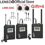 Lensgo 338c Wireless Lavalier Microphone System Transmitter Receiver Video Mic