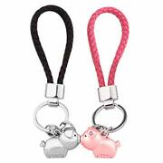 Magnetic Destined Kissing Piggy Couples Keychains Valentine's Love Silver Pink