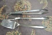New 3 Piece Weber Bbq Grill Set Stainless Steel Never Used Lg.tongs Spatula Fork