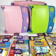 2x Leapfrog Leappad Learning System 30004 12 Books/cartridges His/hers + Bag