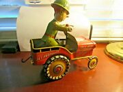 Vintage Unique Art G I Joe And His Jouncing Jeep 1944 Tin Wind Up Toy