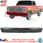 Front Bumper Primed Steel For 83-86 Chevy And Gmc C/k Full Size Pickup / Suburban