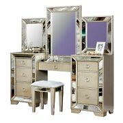 Wooden Vanity Set With Antique Mirror Details And Storage Drawers Silver