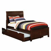 Transitional Full Size Bed With Sleigh Plank Panel Headboard Brown
