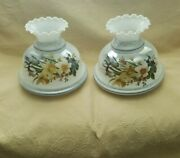 Pair Floral Gwtw Hand Painted Hurricane Ruffled Glass Lamp Shade 10 Fitter