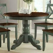 Round Farmhouse Dining Table French Country Wooden Durable Rustic Antique Sage
