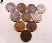 10 Xf-au Mixed Braided Hair Large Cent Lot // 10 Coins Lcl83