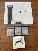 Ps5 - Playstation 5 Console Disc Version Bundle- Xtra Controller- 3 Games
