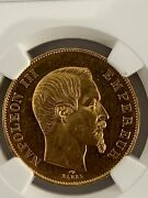 France 1856a 50 Francs Gold Km 785.1 / F547.3 Ngc Certified Ms 62