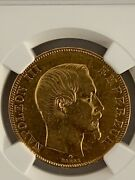 France 1858bb 50 Francs Gold Km 785.2 / F.547/6 Ngc Certified Xf 40