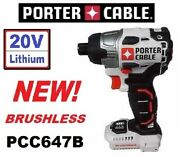 Porter Cable Pcc647b 20v Volt Lithium Cordless Brushless Impact Driver Tool Only