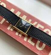 Vintage Tank Quartz Black Lacquered Dial 18k Gold Electroplated Watch