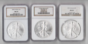 Lot Of 3, Ngc Ms69 Certified American Silver Eagles 2002 2005 And 2013