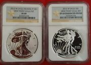 2013 W Reverse Proof And Enhanced Silver Eagle 2 Coin Set Ngc Pf 69 W/boxes And Coa