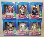 Lot Of 6 Rudolph Misfit Toys Glass Ornaments Brass Key Hermie Yukon Bumble