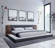 Modern Grey Leather Bed W/ Walnut Built In Night Stand In Queen Or King V174151