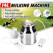 14l Electric Milking Machine Vacuum Pump Stainless Steel Cow Dairy Cattle C