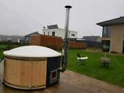 Natural Wood Color Round Outdoor Hot Tub With White Inside Bath And Cover Lid