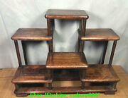 15.7 Antique Old Chinese Huanghuali Wood Dynasty Palace Flower Shelf Statue