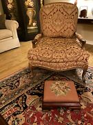 15.5 Antique Vintage Coral Floral Needlepoint And Mahogany Ottoman Foot Stool