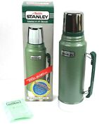 Vintage 1986 Aladdin Stanley Green Steel Thermos A-944dh W Handle 1qt Usa Made