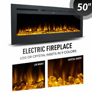 50 Inch Electric Fireplace Insert Recessed Or Wall Mounted Embedded Space Heater