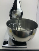 Vintage Chrome Rare Sunbeam Mixmaster Stand Mixer W/ 2 Ss Bowls And Beaters
