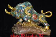 """16.1""""rare Chinese Antiques Pure Copper Cloisonne Bullfight Ornaments Statue"""