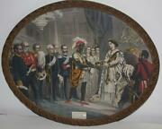 Rare Antique Print Queen Victoria Presenting A Bible To An African Chief-pl474 R