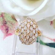 Vintage Jewellery Gold Ring White Sapphires Antique Deco Jewelry Large Size 12