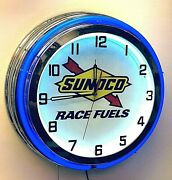 19 Sunoco Race Fuels Sign Gas Oil Double Blue Neon Clock Chrome Finish Racing