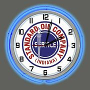 19 Standard Oil Company Gas Indiana Sign Vintage Style Logo Double Neon Clock