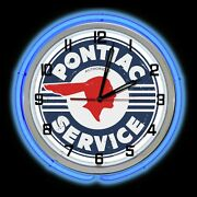 19 Pontiac Service Distressed Sign Blue Double Neon Clock Chevy