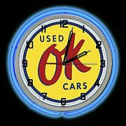 19 Ok Used Cars Sign Double Neon Blue Wall Clock Game Room Garage Man Cave