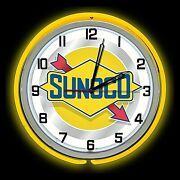 19 Sunoco Oil Vintage Sign Double Yellow Neon Clock Gasoline Gas Man Cave