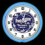 19 Ford Historic Logo Sign Blue Double Neon Clock