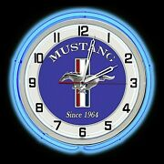 19 Ford Mustang Since 1964 Sign Blue Double Neon Clock Shelby Gt 5.0