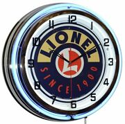 19 Lionel Trains Since 1900 Sign Blue Double Neon Clock Game Room Wall Decor