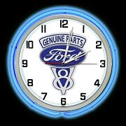 19 Ford V8 Genuine Parts Sign Blue Double Neon Clock