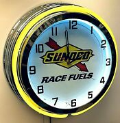 19 Sunoco Race Fuels Sign Gas Oil Double Yellow Neon Clock Chrome Finish Racing
