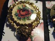 Pettipoint Rose Pennant W/vintage Glass Button Pi1